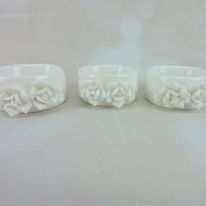 Other - Ceramic White Napkin Rings Set of 3 Roses Chic